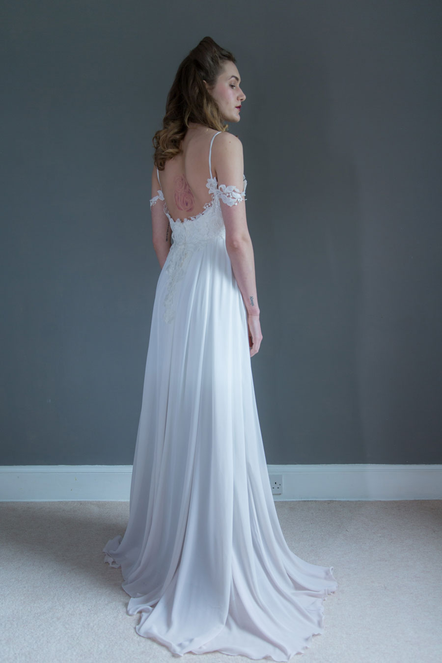 wedding dress with colorful flowers photo - 1