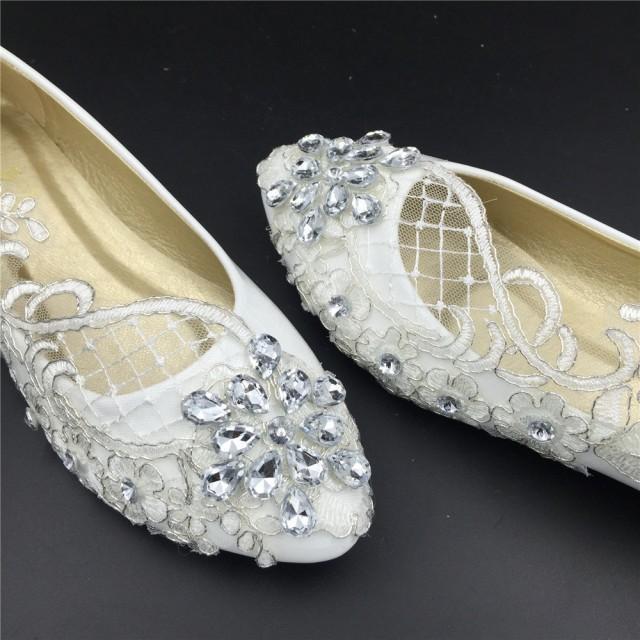 wedding shoes flats lace photo - 1