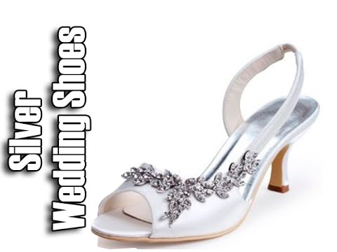 wedding shoes low heel silver photo - 1