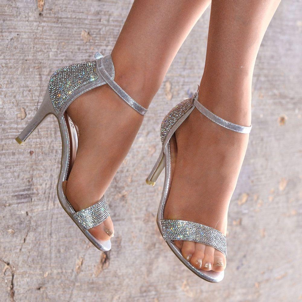 wedding shoes silver heels photo - 1
