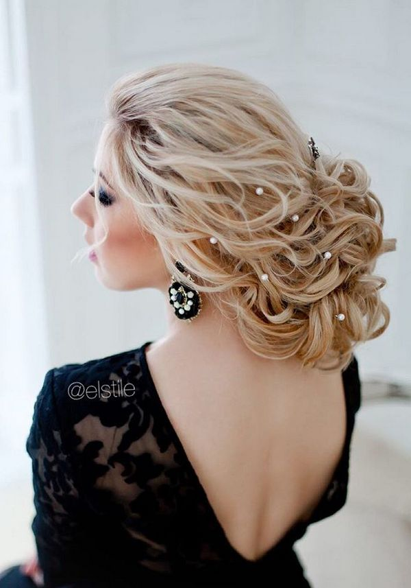 wedding updo with flowers photo - 1