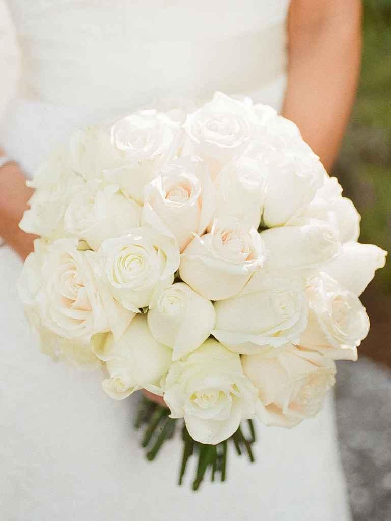 wedding white roses bouquets photo - 1