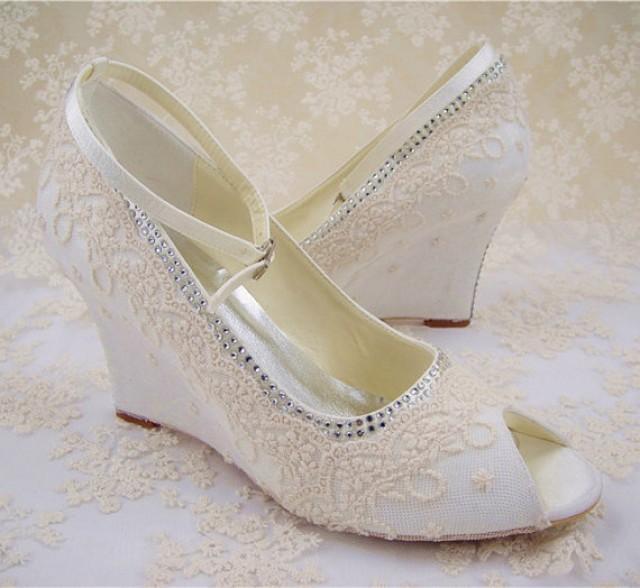 wedge bridal shoes ivory photo - 1