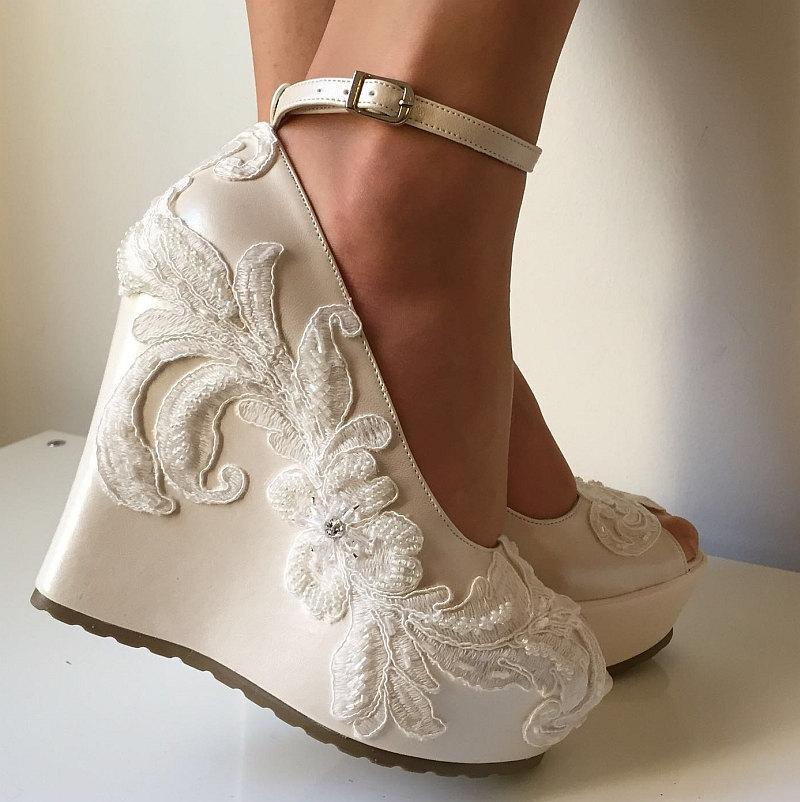 wedge wedding shoes ivory photo - 1