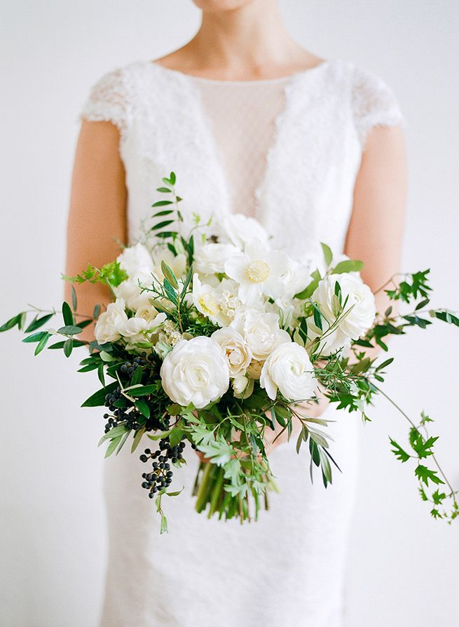 white and green wedding bouquets photo - 1