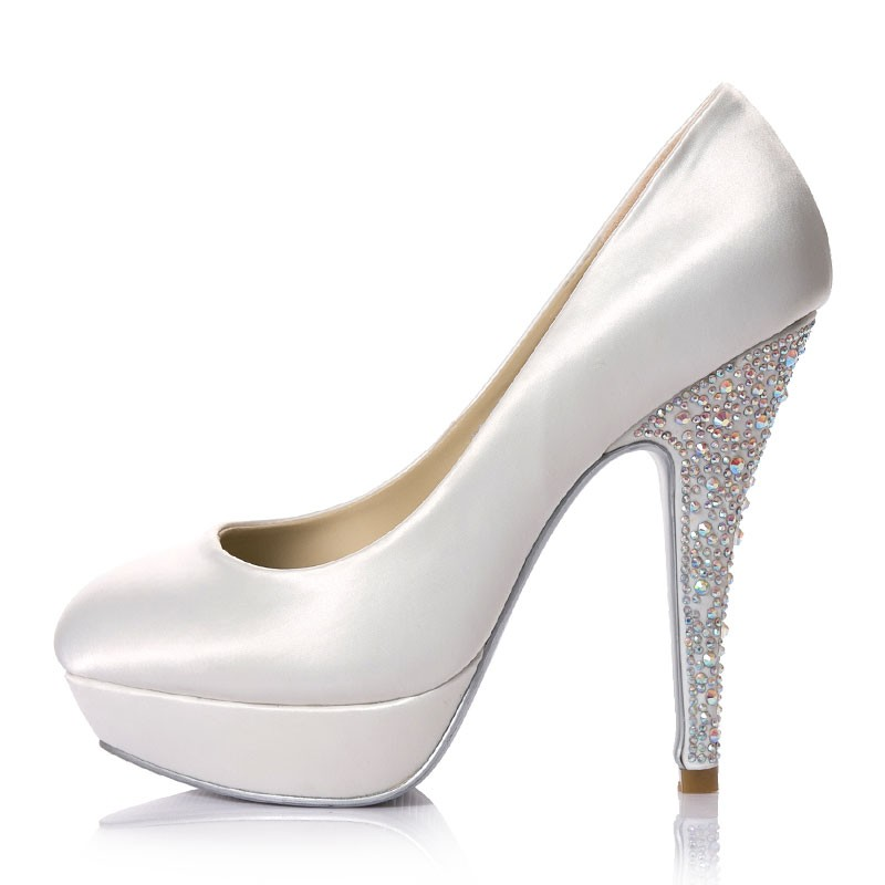 white high heel wedding shoes photo - 1
