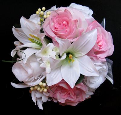white lily wedding bouquet photo - 1