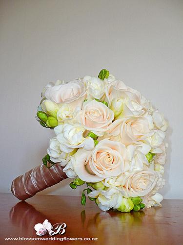 white rose wedding bouquet photo - 1