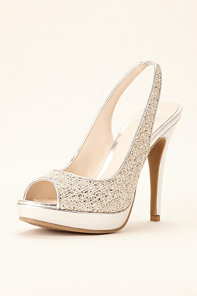 white satin bridal shoes photo - 1
