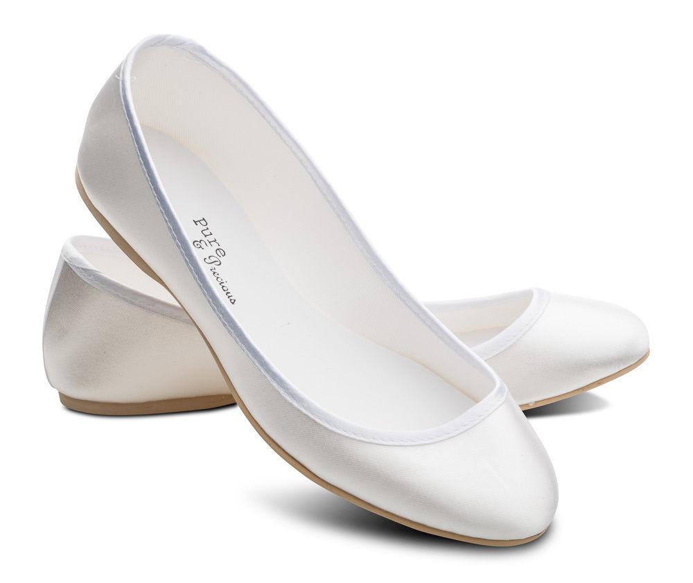 white wedding shoes flat photo - 1