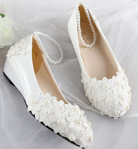 white wedding shoes wedges photo - 1
