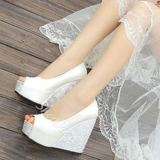 white wedding wedges shoes photo - 1