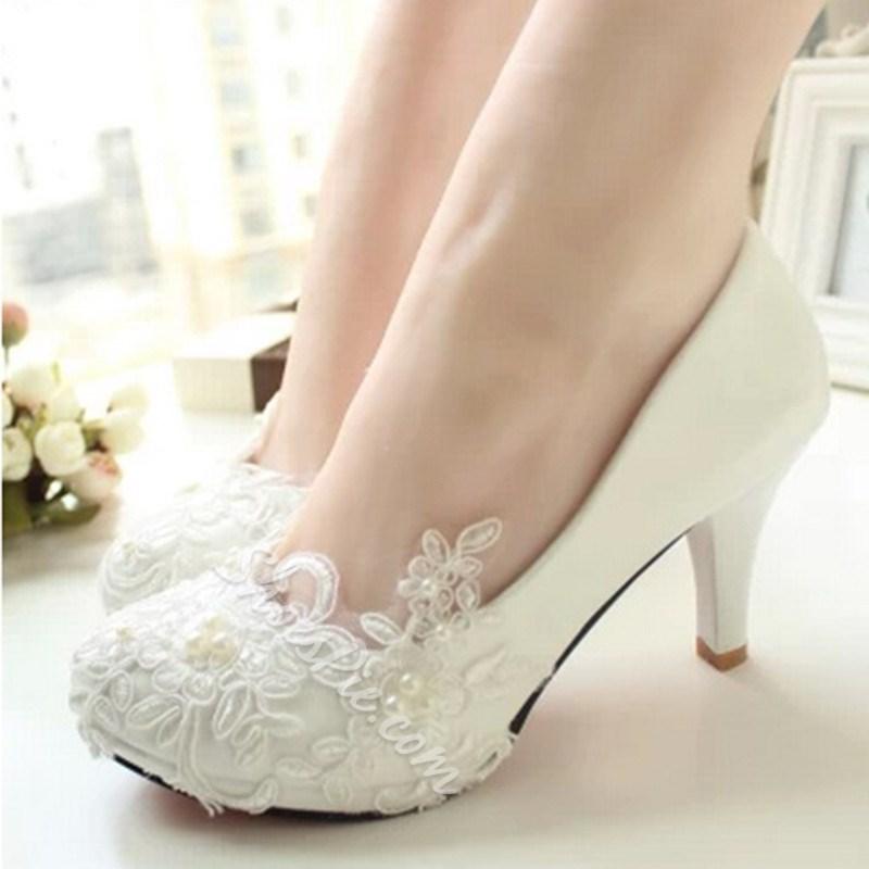 white wedge bridal shoes photo - 1