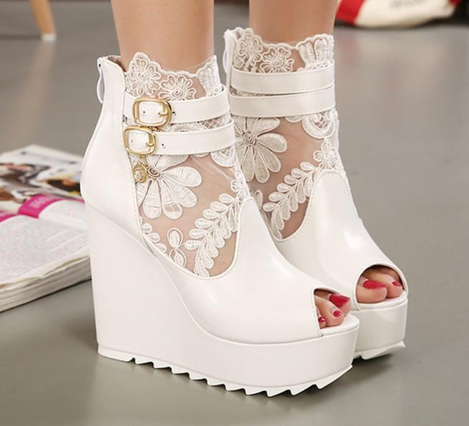 white wedge shoes for wedding photo - 1