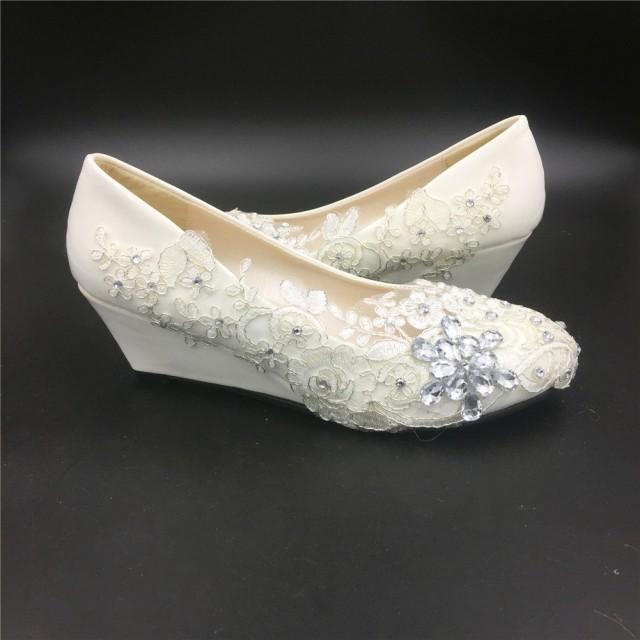 white wedges wedding shoes photo - 1