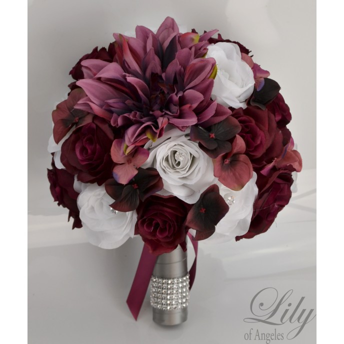 wine colored wedding bouquets photo - 1