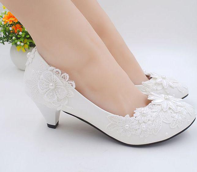 2 inch wedding shoes ivory photo - 1