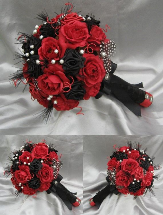 black and red wedding bouquets photo - 1