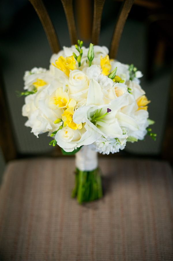 blue and yellow wedding bouquets photo - 1