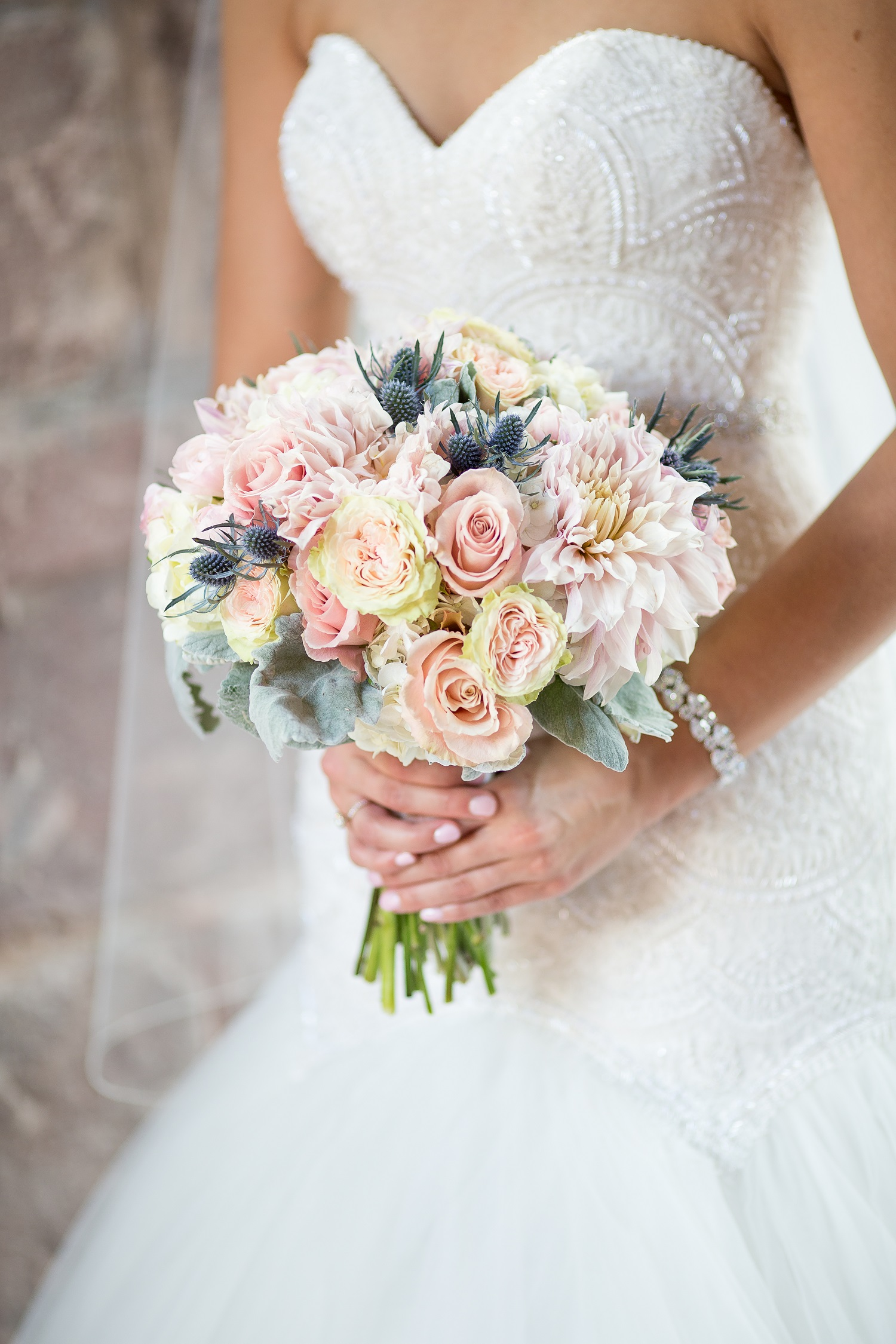 blue bridal bouquets photo - 1