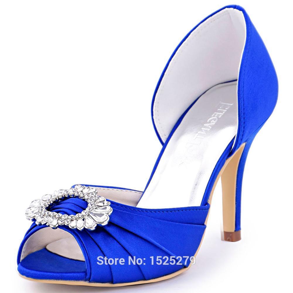 blue satin wedding shoes photo - 1