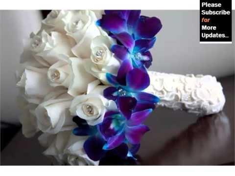 blue wedding flower bouquets photo - 1