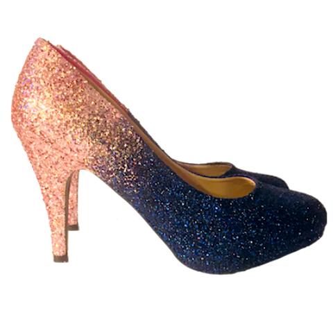 blue wedding shoes flats photo - 1