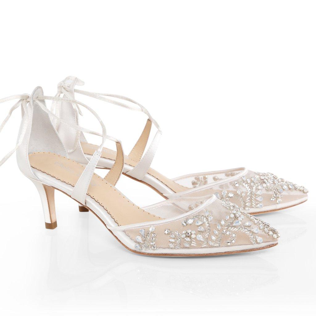 blue wedding shoes low heel photo - 1
