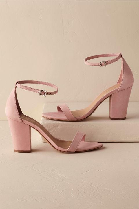 blush low heel wedding shoes photo - 1