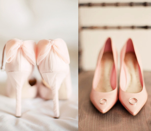 blush wedding shoes low heel photo - 1