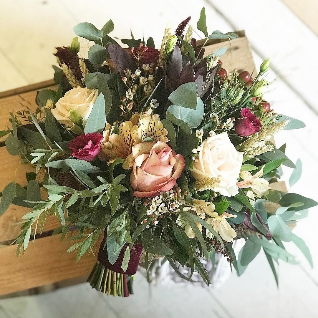 burgundy flowers wedding bouquet photo - 1
