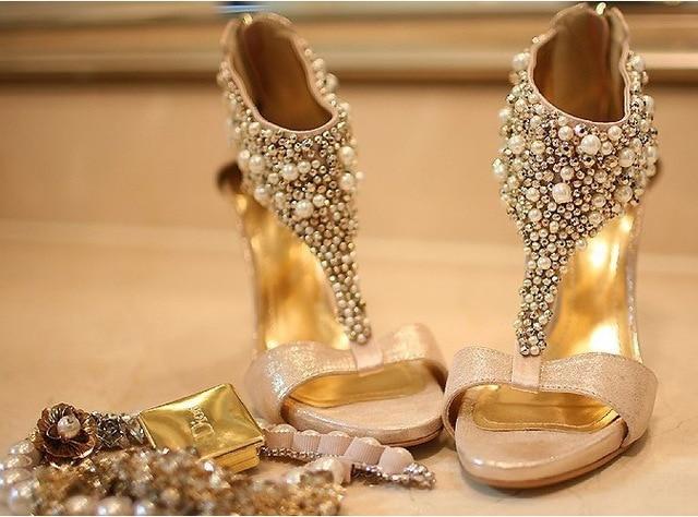 champagne peep toe wedding shoes photo - 1