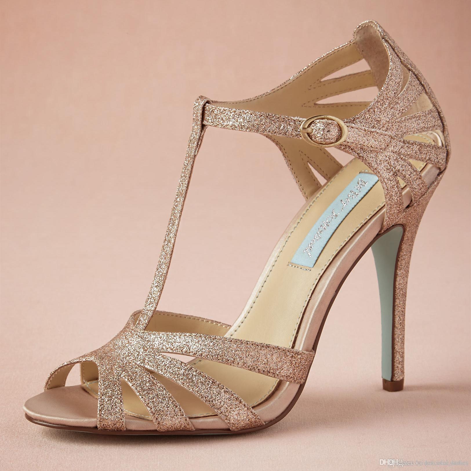 champagne wedge wedding shoes photo - 1