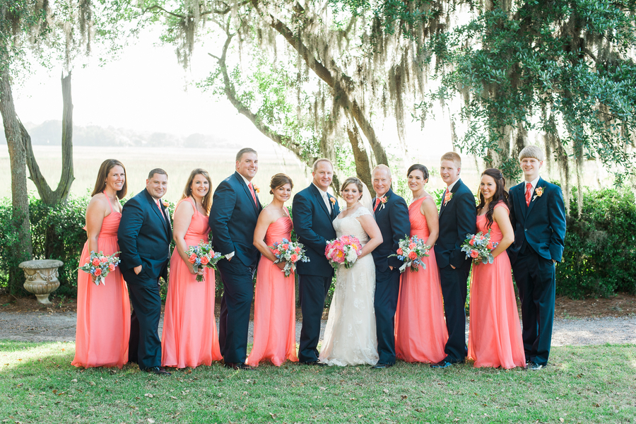 coral and gold wedding bouquets photo - 1