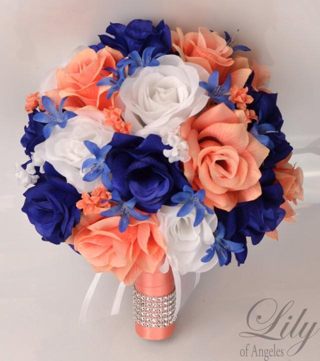 coral and royal blue wedding bouquets photo - 1