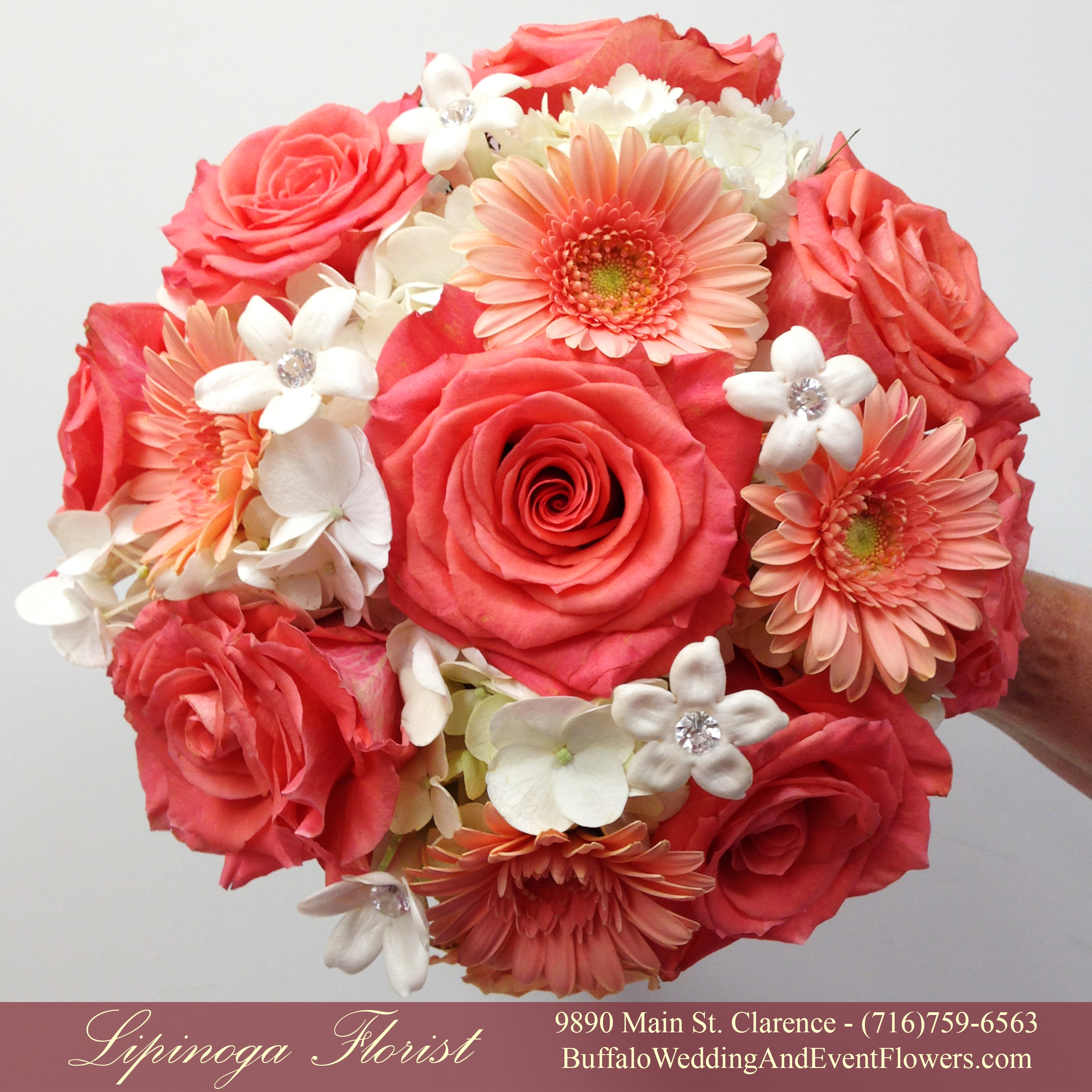 coral wedding flower bouquets photo - 1