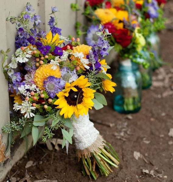 country bouquets for wedding photo - 1