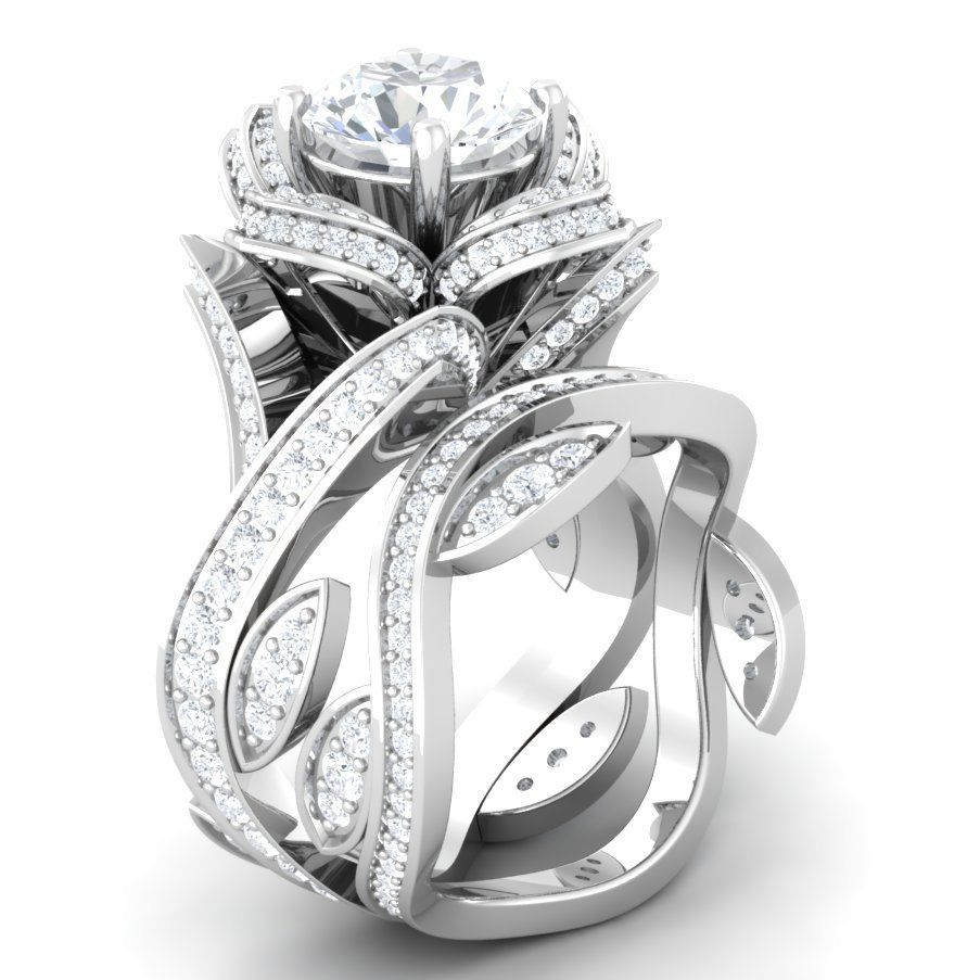 flower wedding ring set photo - 1