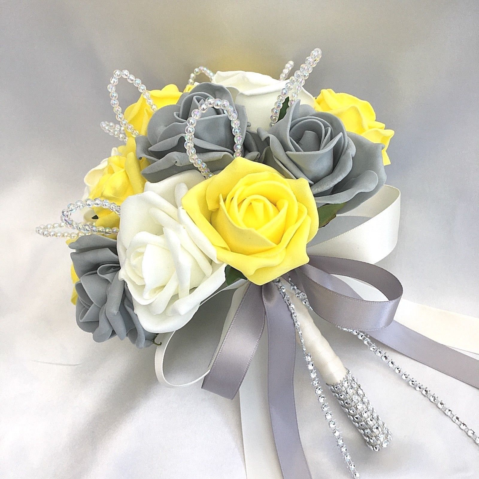 grey and yellow wedding bouquets photo - 1