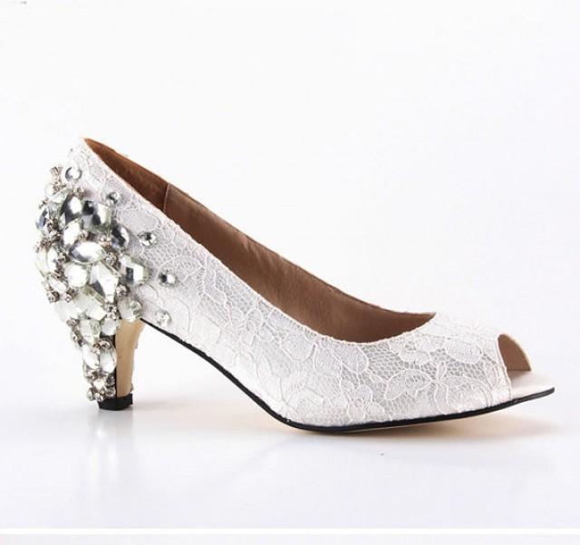 ivory lace peep toe wedding shoes photo - 1