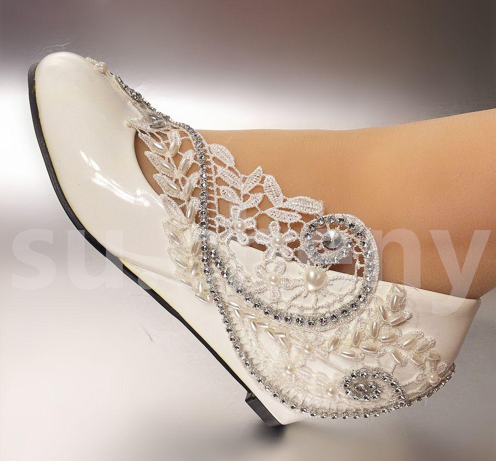 ivory lace wedge wedding shoes photo - 1