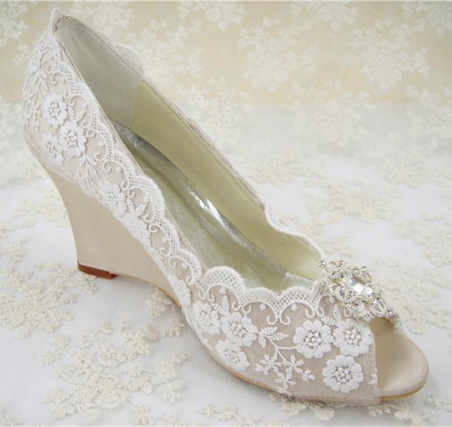 ivory wedding wedge shoes photo - 1