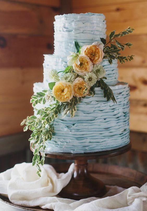 light blue wedding bouquets photo - 1