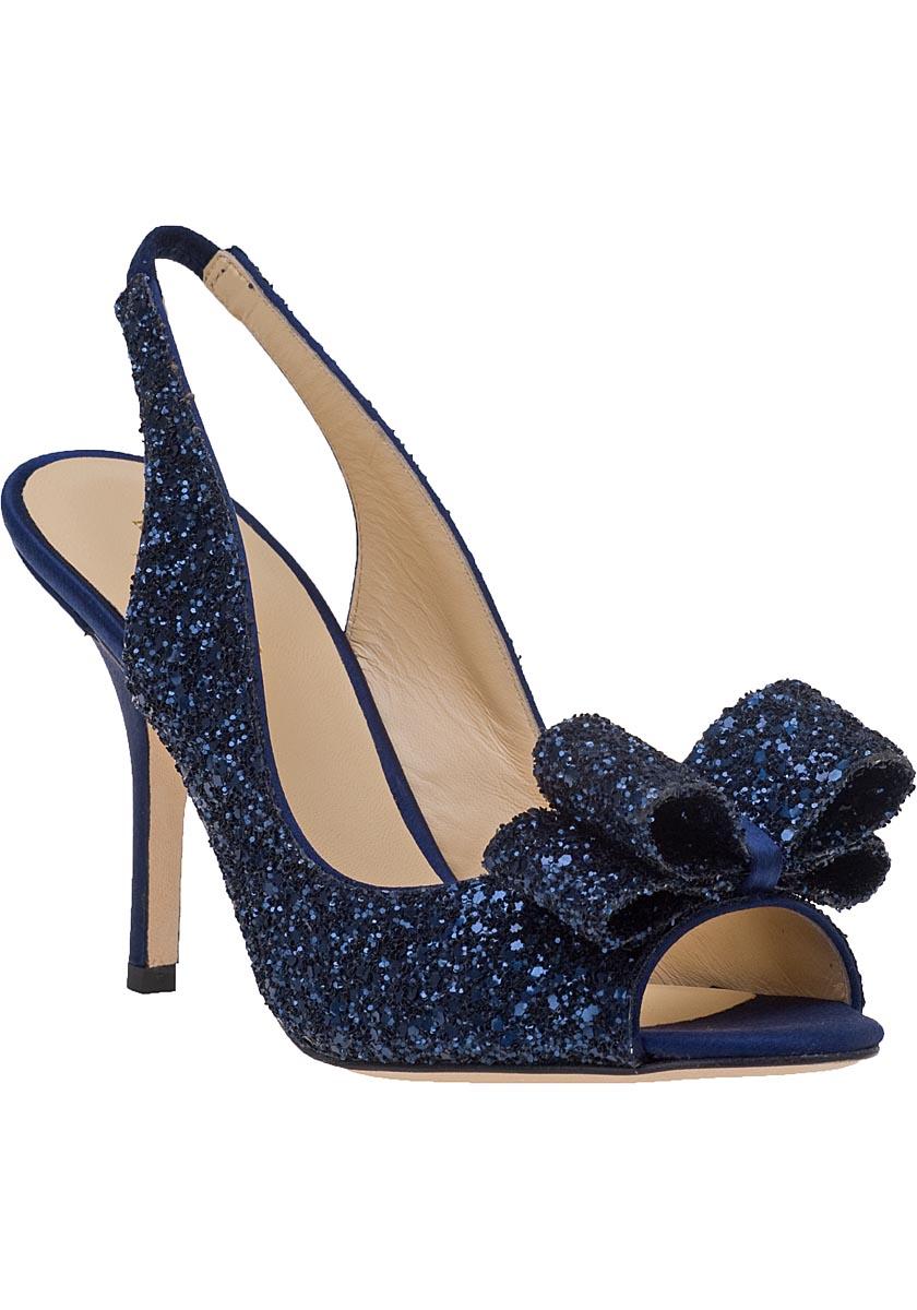 navy blue wedding shoes low heel photo - 1