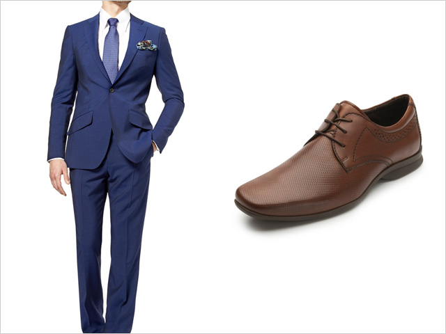 navy suit brown shoes wedding photo - 1