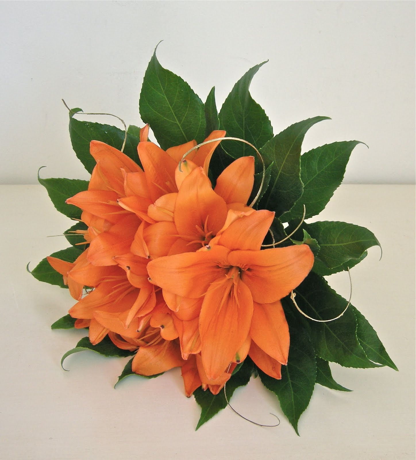 orange lily wedding bouquets photo - 1