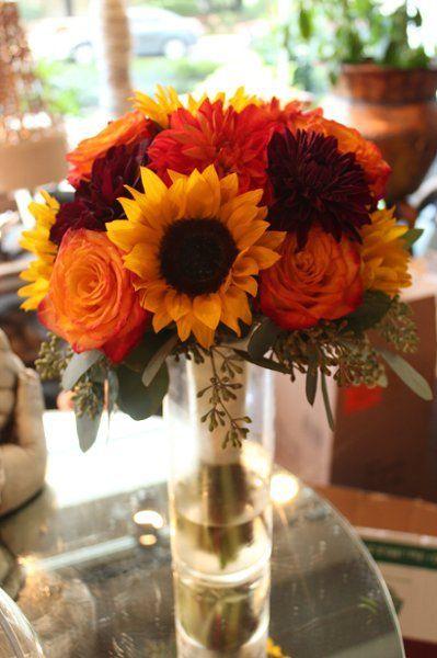 orange sunflower wedding bouquets photo - 1