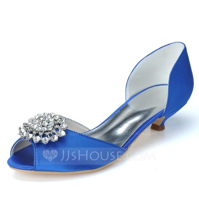 peep toe kitten heel wedding shoes photo - 1