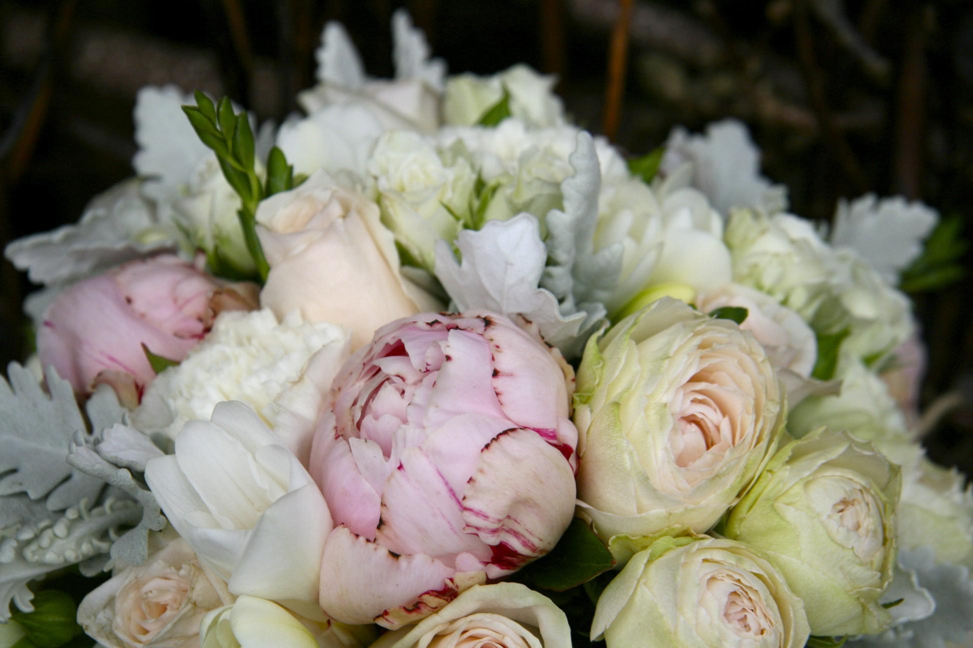 peonies wedding bouquet photo - 1