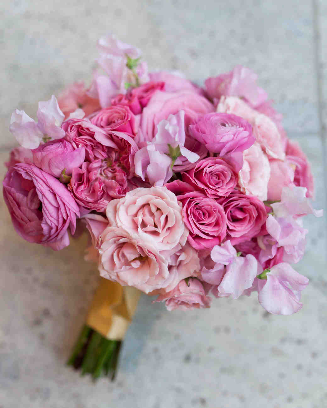 pink and white rose wedding bouquets photo - 1